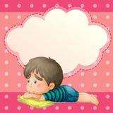 Een droevige jonge mens met een lege callout stock illustratie