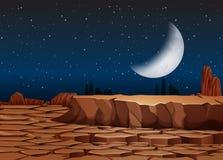 Een droog land bij nacht royalty-vrije illustratie