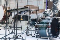 Een drumstel, een muzikaal instrument Royalty-vrije Stock Foto