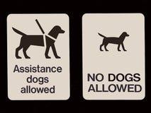 Een dubbel teken die welke honden tonen worden toegestaan en welke toegestane ` t aren Royalty-vrije Stock Afbeeldingen