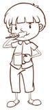 Een duidelijke schets van een jongen die zijn tanden borstelen Stock Afbeeldingen