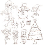 Een duidelijke schets van een Kerstmisviering Stock Foto's