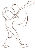 Een duidelijke schets van een mannelijke honkbalspeler Stock Foto