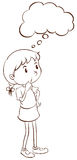 Een duidelijke schets van het jonge meisje denken vector illustratie