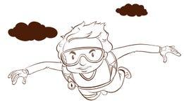Een duidelijke tekening van jongen het skydiving Royalty-vrije Stock Foto's