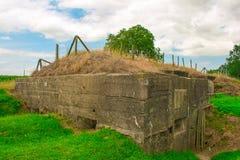 Een Duitse bunker van wereldoorlog één de gebieden van België Vlaanderen stock foto's