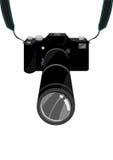 Een dure SLR-Film of Digitale Één enkele Lens Reflexdslr Camera met riem en zoomlens Het art. van de Editableklem Royalty-vrije Stock Foto