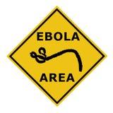 Een Ebola-van het de waarschuwingsgebied van het virusgevaar het symboolteken Stock Foto's