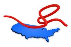Een ebolavirusvirion met een kaart van de Verenigde Staten van Amerika op de achtergrond Royalty-vrije Stock Afbeeldingen