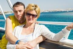 Een echtpaar maakt reis Stock Afbeelding