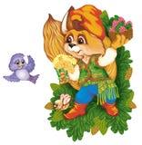 Een eekhoorn gaat naar een vriend met het heden royalty-vrije illustratie