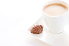 Een een ochtendkoffie en chocolade Stock Foto's