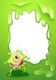 Een eenogig groen monster met roze lippen Stock Foto