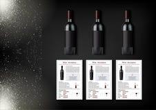Een eenvoudig ontwerp van realistische flessen van wijn en wijnkaarten met beschrijvingen en kenmerken van de wijn op een zwarte Royalty-vrije Stock Afbeelding