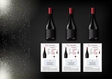 Een eenvoudig ontwerp van realistische flessen van wijn en wijnkaarten met beschrijvingen en kenmerken van de wijn op een zwarte Stock Afbeelding
