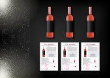 Een eenvoudig ontwerp van realistische flessen van wijn en wijnkaarten met beschrijvingen en kenmerken van de wijn op een zwarte Royalty-vrije Stock Foto's