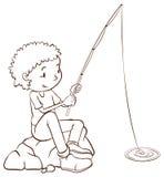 Een eenvoudige duidelijke schets van een jongen visserij Stock Foto's