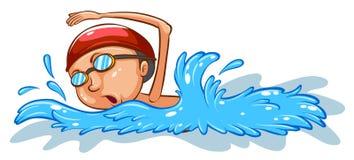 Een eenvoudige gekleurde schets van jongen het zwemmen vector illustratie