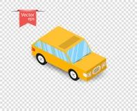 Een eenvoudige gele stuk speelgoed auto met een schaduw Vectorillustratie op Geïsoleerde Transparante Achtergrond royalty-vrije illustratie