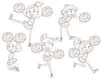 Een eenvoudige schets van cheerers Stock Foto
