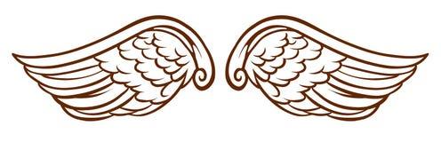 Een eenvoudige schets van de vleugels van een engel royalty-vrije illustratie