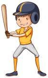 Een eenvoudige schets van een mannelijke honkbalspeler Stock Foto