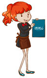 Een eenvoudige schets van een vrouwelijke serveerster Royalty-vrije Stock Afbeeldingen