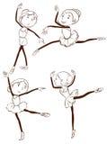 Een eenvoudige tekening van de balletdansers Royalty-vrije Stock Afbeeldingen