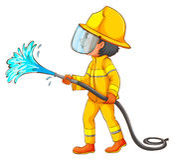 Een eenvoudige tekening van een brandbestrijder Stock Afbeeldingen