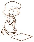Een eenvoudige tekening van meisje het schrijven royalty-vrije illustratie