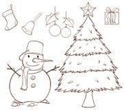 Een eenvoudige tekening voor Kerstmis Stock Fotografie