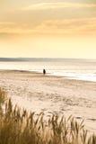 Een eenzame mens die zich op het strand bevinden Stock Foto's