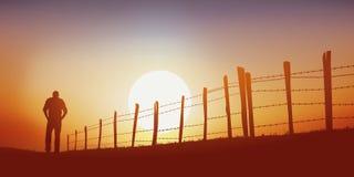 Een eenzame mens loopt op een steeg van het land bij zonsondergang stock illustratie