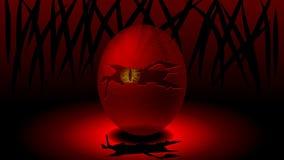 Een ei met gebarsten shell en een monster in het midden die uit eruit zien royalty-vrije illustratie