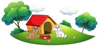Een eiland met een hondehok en twee puppy royalty-vrije illustratie