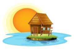 Een eiland met een kleine hut vector illustratie