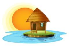 Een eiland met een nipahut stock illustratie