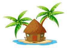 Een eiland met een nipahut Stock Foto
