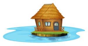 Een eiland met een plattelandshuisje vector illustratie