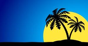 Een eiland met een palm Stock Afbeelding