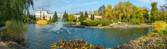 Een elegant panorama van het park in de zomer Met een vijver en een afstraffing daarin een fontein van luxueuze groene struiken v stock fotografie
