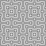 Een elegant zwart-wit vectorpatroon, geometrische vierkante tegel Stock Afbeelding