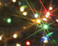 Een elektrisch Licht Sterrig Abstract Schot van Kerstmis Stock Foto