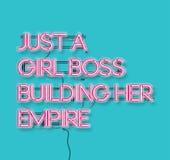 Een enkel meisjeswerkgever die haar signon van het imperium roze neon blauwe backg bouwen vector illustratie