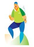 Een ervaren golfspeler is de winnaar stock illustratie