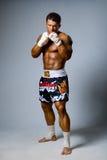 Een ervaren vechter kickboxer klaar voor een strijd Royalty-vrije Stock Afbeelding