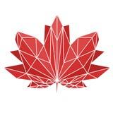 Een esdoornblad in veelhoekige techniek wordt geschilderd die Nationaal teken van Canada Vectorbeeld voor ontwerpt-shirts Royalty-vrije Stock Afbeelding