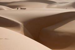 Een ezelscaravan is uiterst klein op de duinen van de woestijn van de Sahara, met een grote dichtbij langs kloof van zand Royalty-vrije Stock Afbeelding