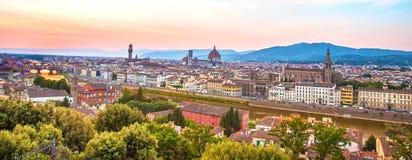 Een fabelachtig panorama van Florence van Michelangelo Square a royalty-vrije stock foto