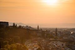 Een fabelachtig panorama van Florence van Michelangelo Square a royalty-vrije stock afbeelding